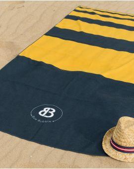 Drap de plage - Anuanua - Navy à bandes jaunes - 180x100 cm