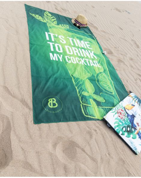 Drap de plage - Heiata - It's time to drink my cocktail - 180x100 cm
