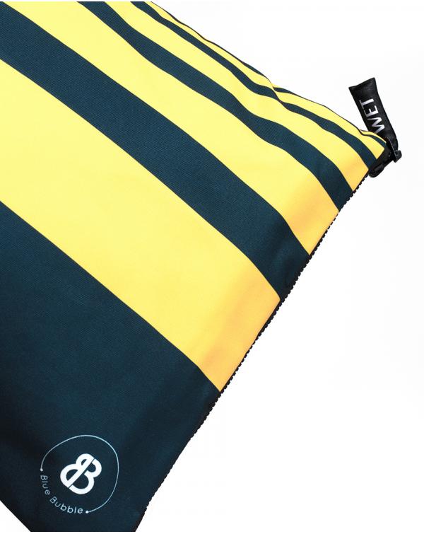 Sac à linge - Raihau - Navy à bandes jaunes - 60x35 cm