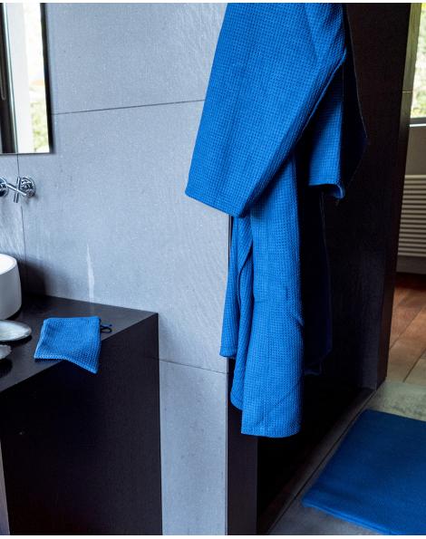 Blue Bubble - Peignoir Luxe - Microfibre - Bleu - Nid abeille