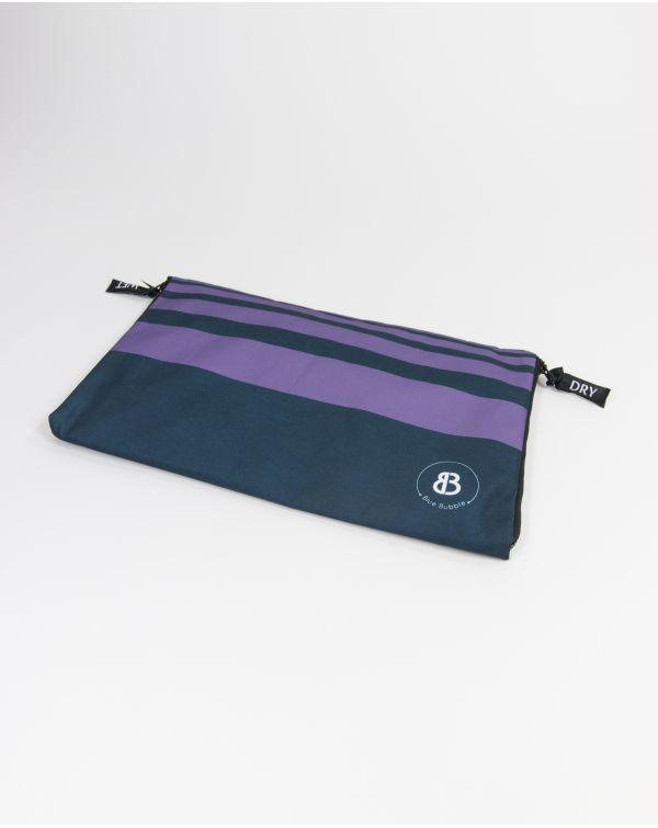 Sac à linge - Raihau - Navy à bandes violettes - 40x25 cm