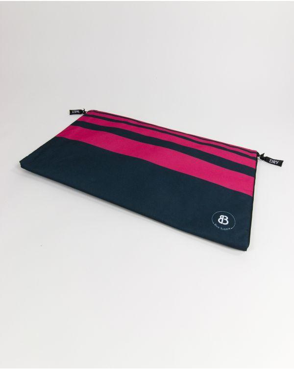 Sac à linge - Raihau - Navy à bandes roses - 60x35 cm