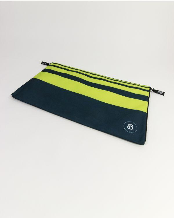 Sac à linge - Raihau - Navy à bandes vertes - 60x35 cm